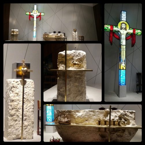 Our beautiful altar. Marble donated by the Salvador family; Stained glass cross designed by Carlos Tanseco.