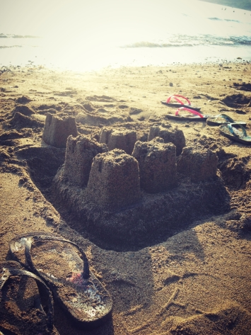 The kids made sand castles